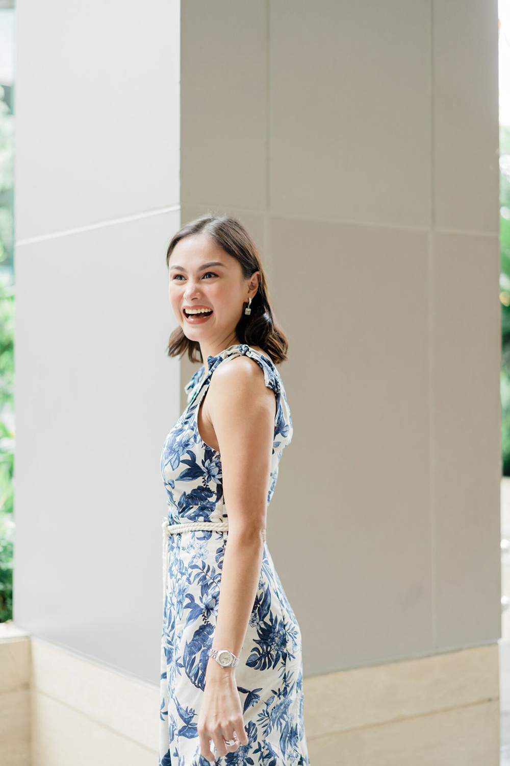 Blue Floral Mango Dress